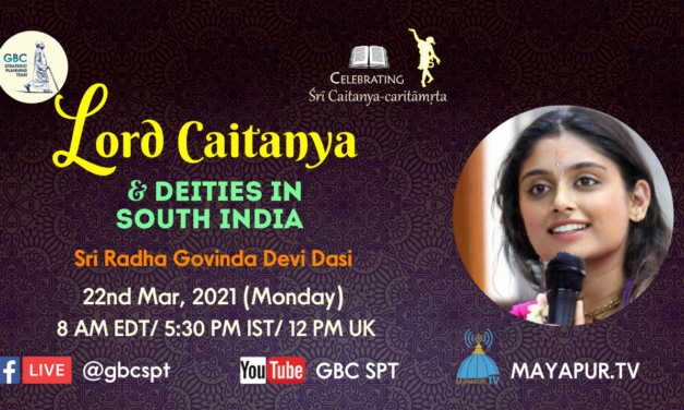 Lord Caitanya and deities in South India